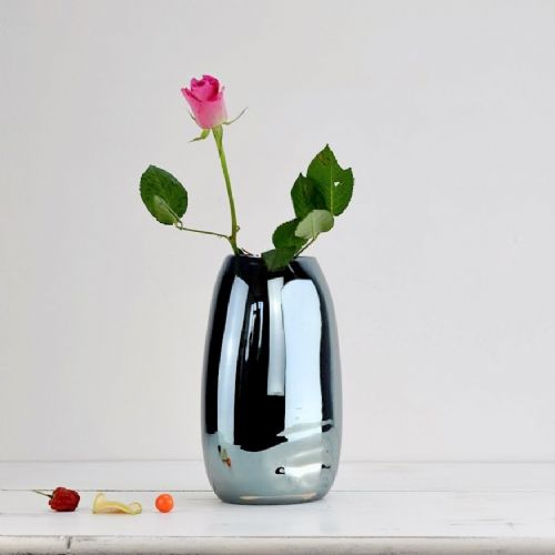 Luxury Iridescent Glass Amber Vase 24cm